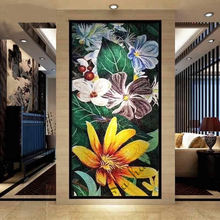 Custom flower picture design glass mosaic wall art murals