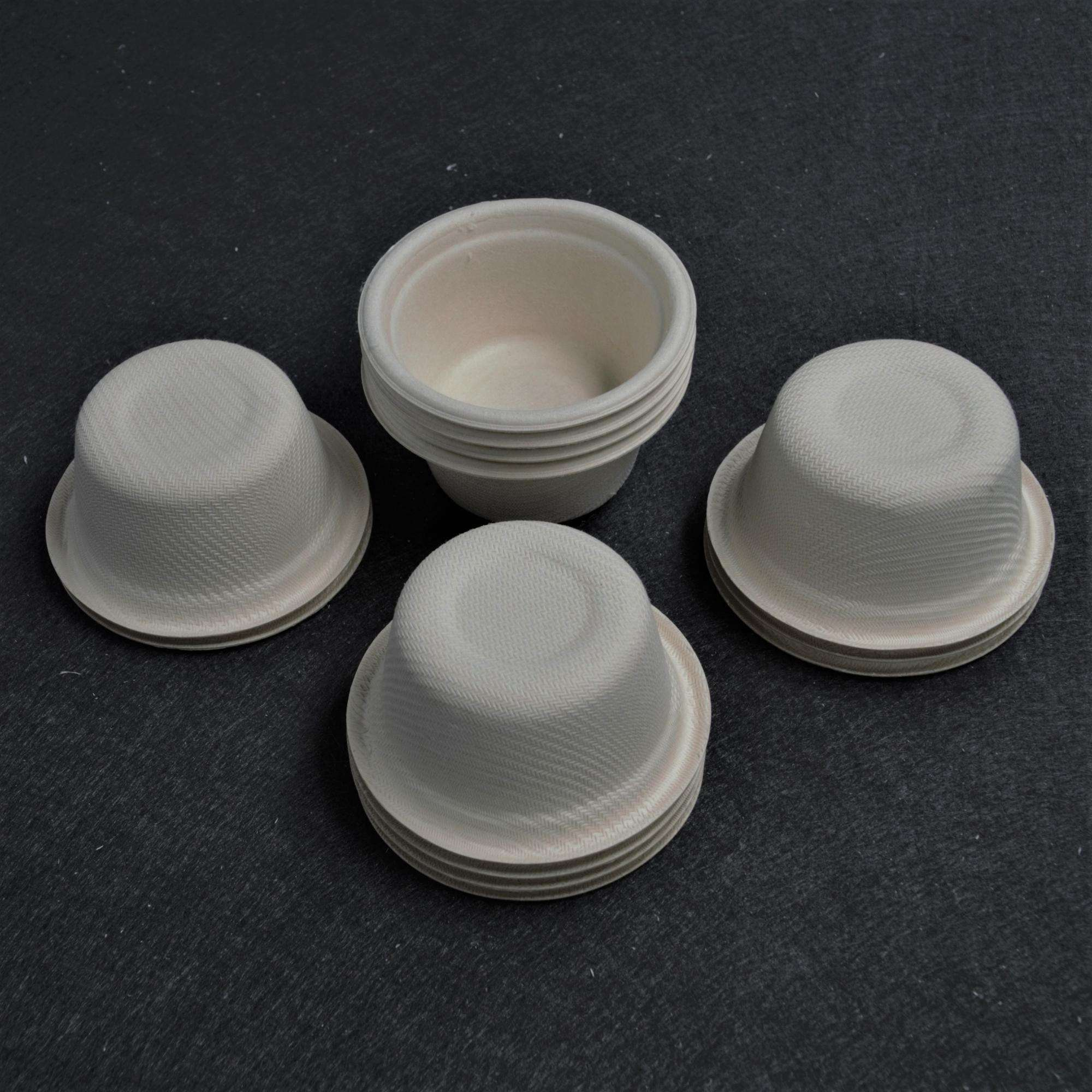 Biodegradable 55ml 2oz Biodegradable Paper Pulp Bagasse Small Tea Cups