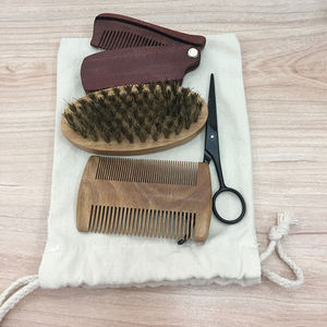 High quality best selling 5pcs / set bamboo design beard brush and comb set for men
