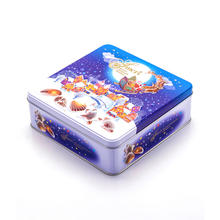 Vintage rectangular merry christmas gift biscuit cookie tin box