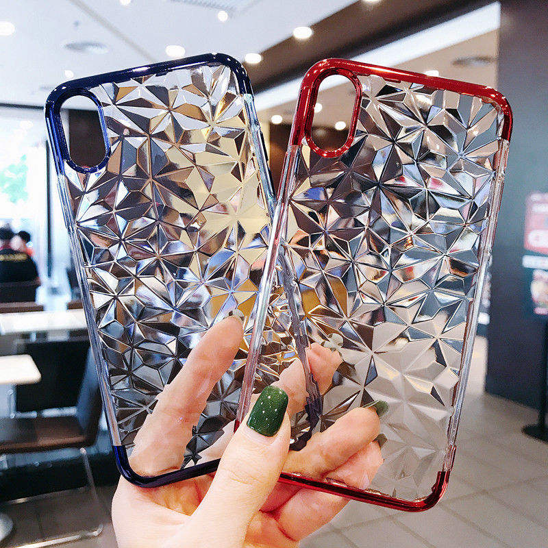 For iPhone X 8 7 6S Plus Case 3D Diamond Pattern Bling Crystal Soft Rubber Case Cover For iPhone XR XS MAX 6 7 8 Plus