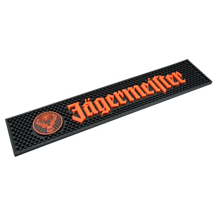 jagermeister custom logo embossed Eco friendly custom oem design soft drip PVC bar mat