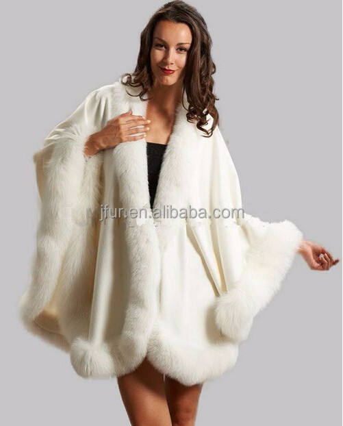 New Fashion Large Size Women White Cashmere Cape with Big Fox Fur Trim