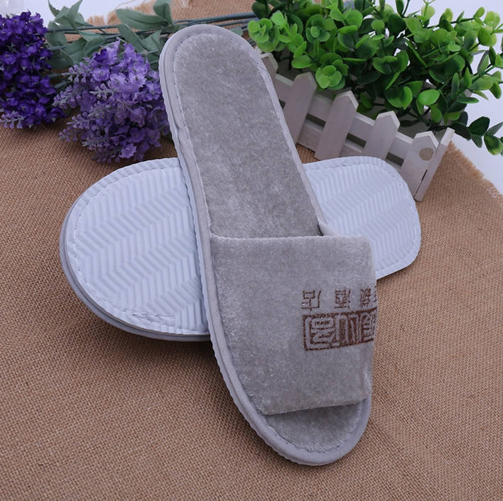 wholesale cheap 100% cotton terry hotel disposable slippers