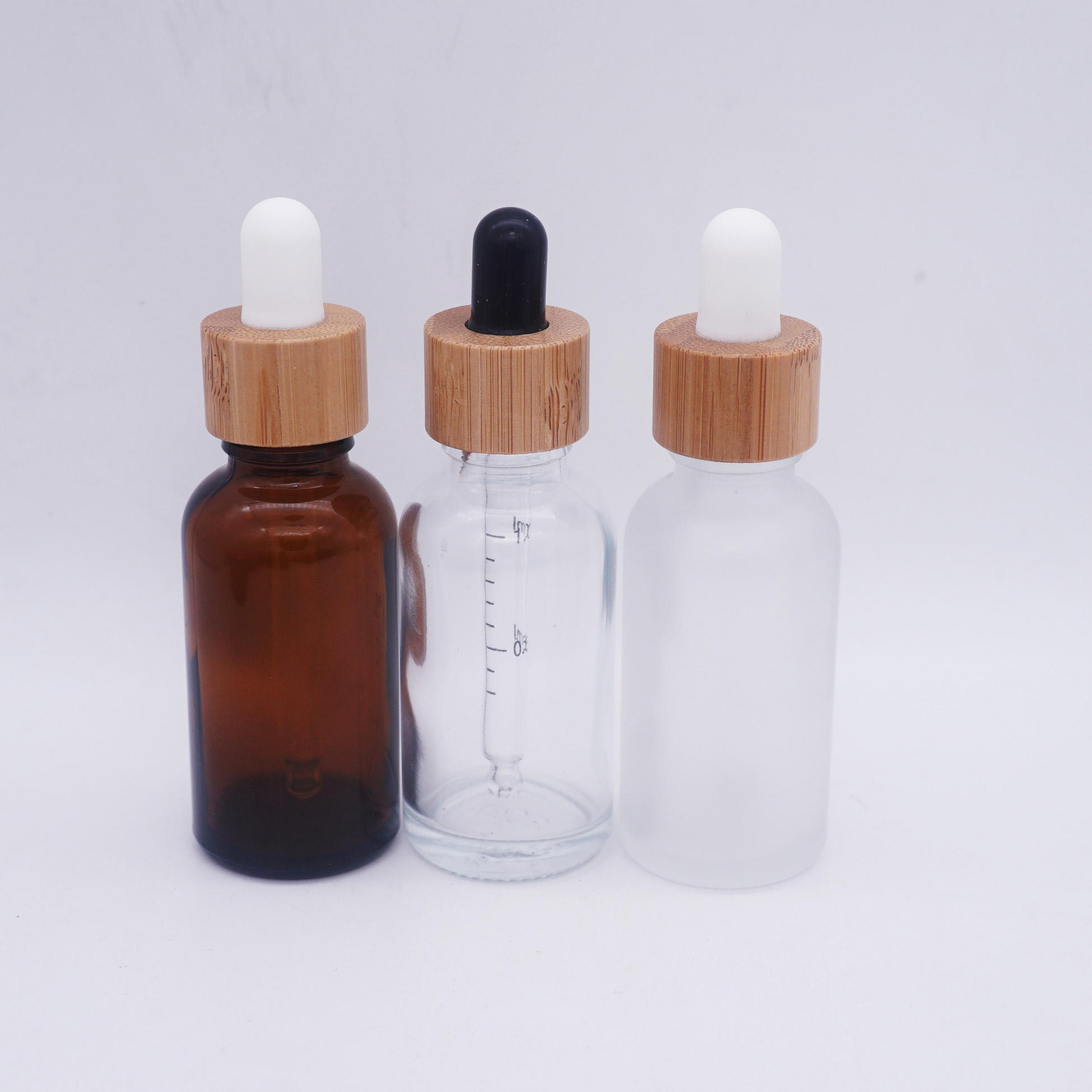 15ml white frosted amber 10ml essential oil bottle with bamboo lid