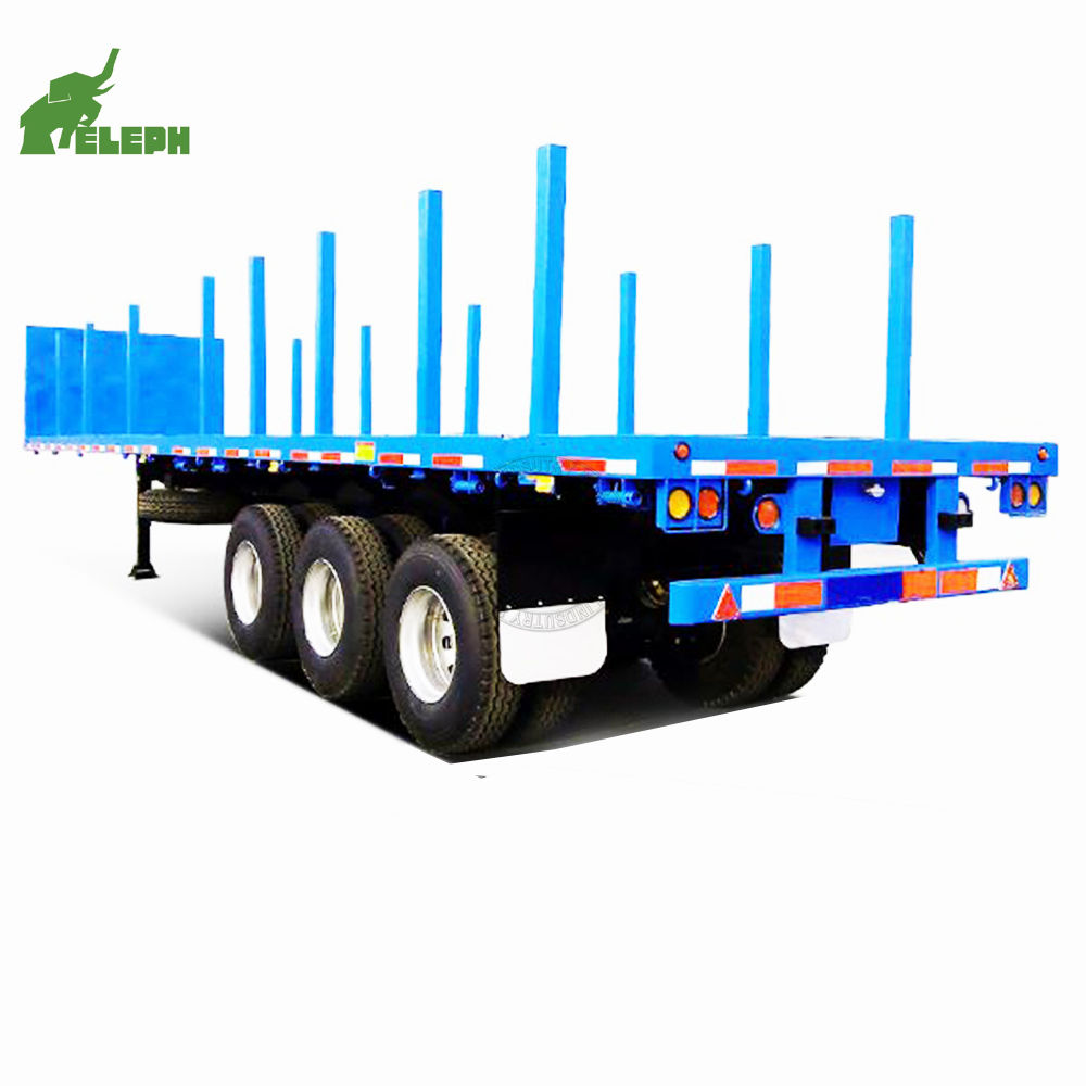 flat bed stake log post sugarcane trailer 2 axles 3 axles 30ton 40ton sugarcane transportation truck semi trailer for sale