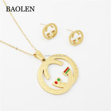 Yuppo Cheap AAA Red Green Color Jewelry Set Stainless Steel 316L Woman Big Letter Shaped Gold Plated Jewelry Guangzhou Market