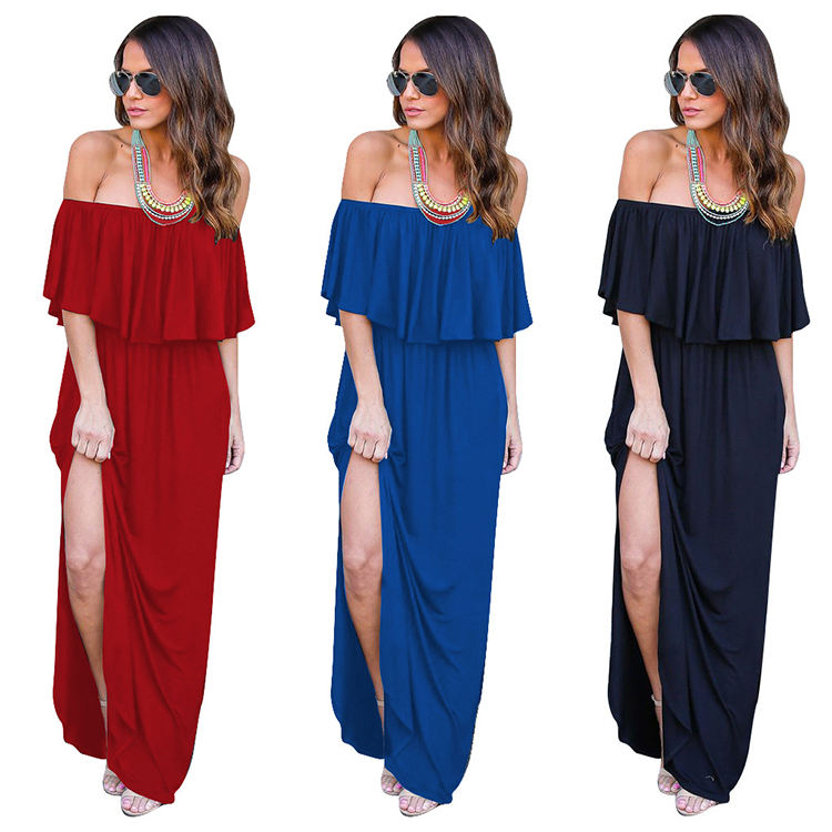 Sexy Women Backless Off Shoulder Bandeau Ruffles Dress Casual Solid Color Long Maxi Dress