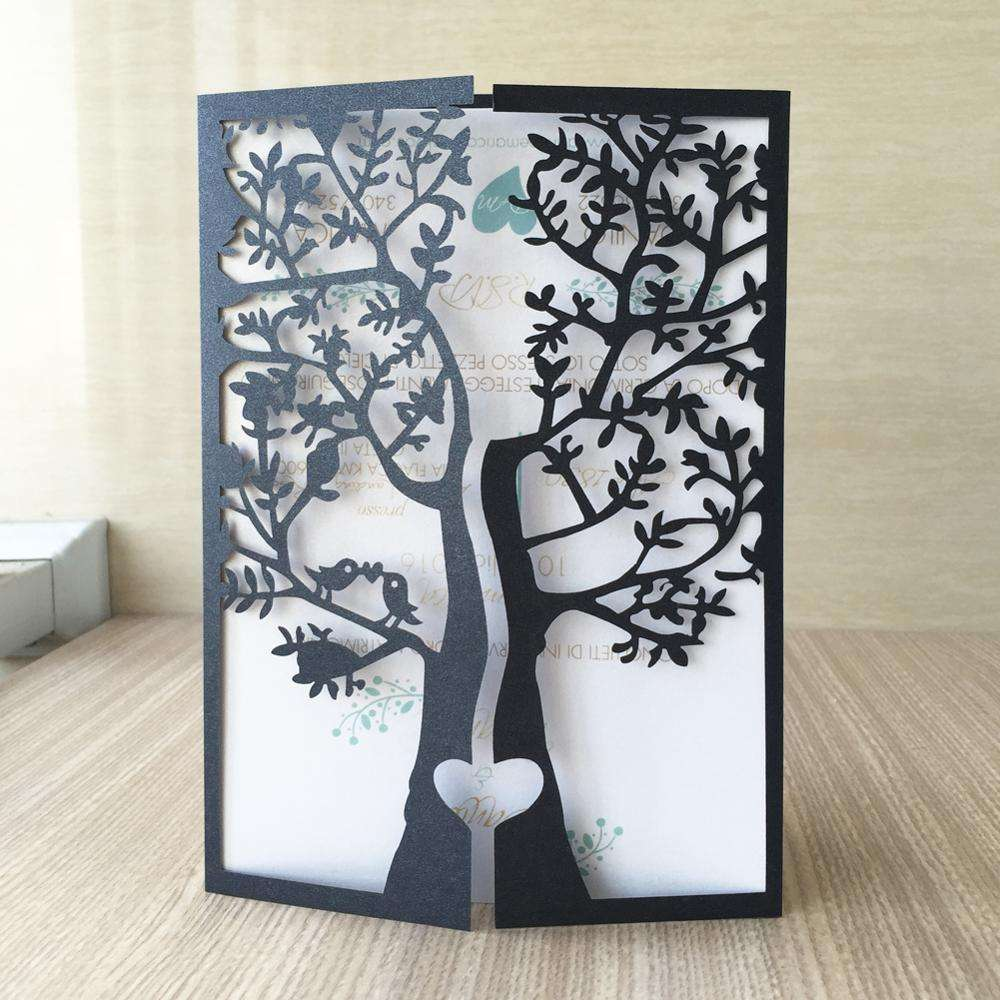 Laser Cut Romantic Tree Pattern Wedding Cards Company Square Wedding Invitations
