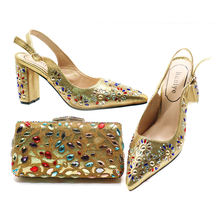 lady shoes to match bag with stones Beautiful shoes set High Quality Pu material italian shoes bag set