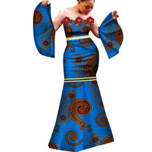 Wix Wholesale African women's dress sexy for party skirt cotton product dewax clothing slim long dress WY283
