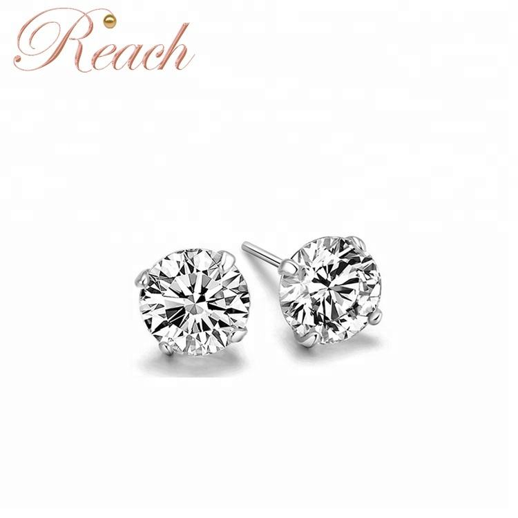 3 4 5 6 7mm Round CZ Zircon Fancy 925 Sterling Silver Stud Earrings for Girls Gift
