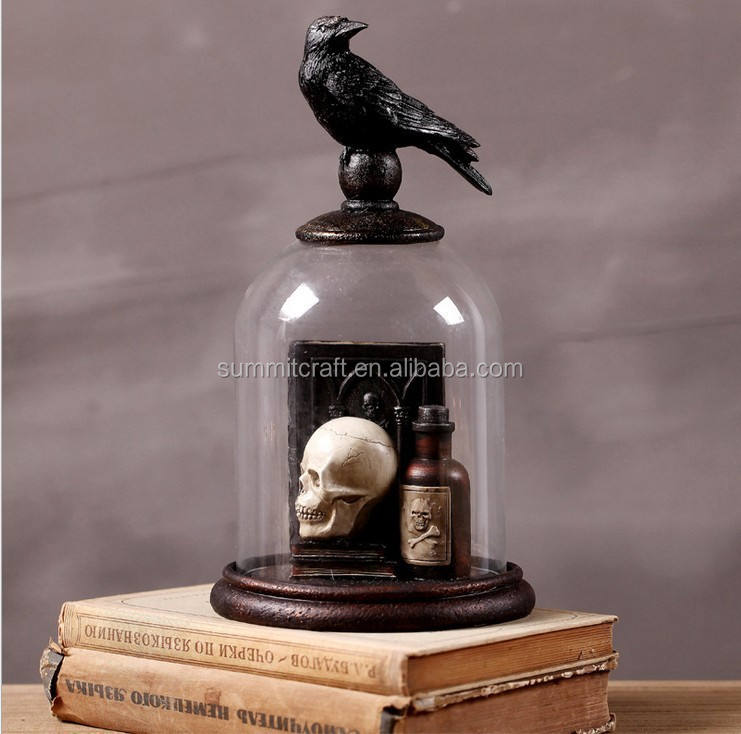 halloween totenkopf und Krähe dekoration mit glaskuppel gruselig geschenk