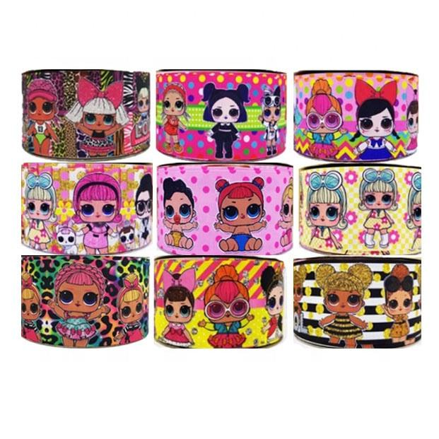 3inch cartoon Doll girl Grosgrain Printed Ribbon handmade for DIY materials 20000designs in stock custom ribbon