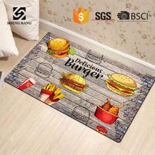 Non Slip Heat Resistant Anti Fatigue Custom Printed Oil Proof PVC Printing Plastic Floor Area Rugs Set Washable Kitchen Mat