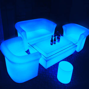2020 Hot selling PE led lighting sofa , combinational sofa set with battery and charge suit for outdoor events