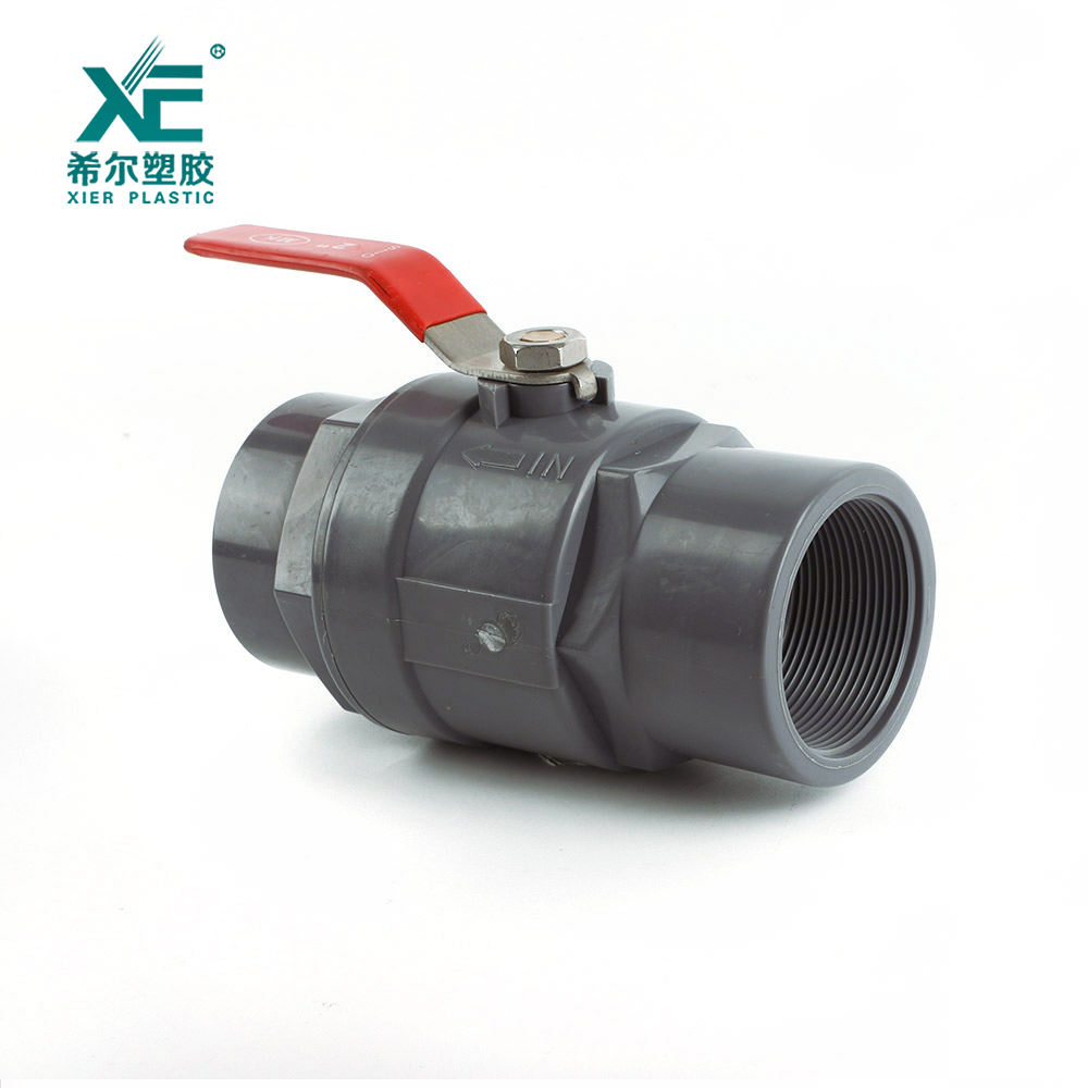 China supplier plastic pvc two pieces ball valve with stainless steel handle