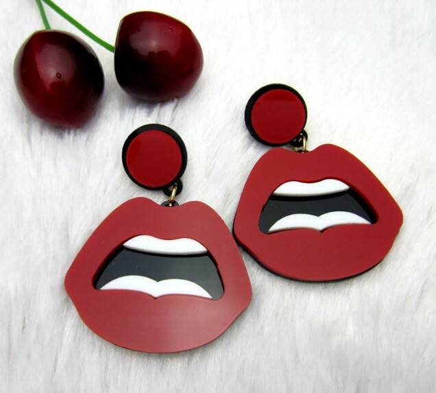 European Fashion Punk Jewelry Club Red Sexy Lips Drop Earrings For Women Hip Hop Accessories Party jewelry