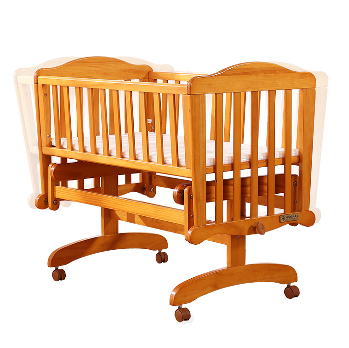 Small cheap pine wood baby crib with cradle