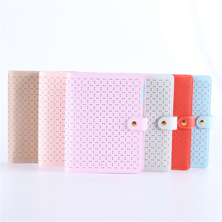 Fashion Hollow Buckle Design Memos Loose Leaf Time Agenda PU Leather Daily Planner