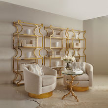 Elegant Stylish Neo Classical Golden Stainless Steel Ladder Shaped Bookcase for Library BF12-11274a