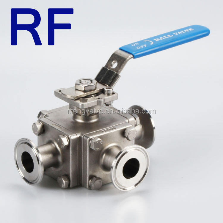 RF L/T Port Sanitary Stainless Steel 3 Way Ball Valve For Food And Beverage