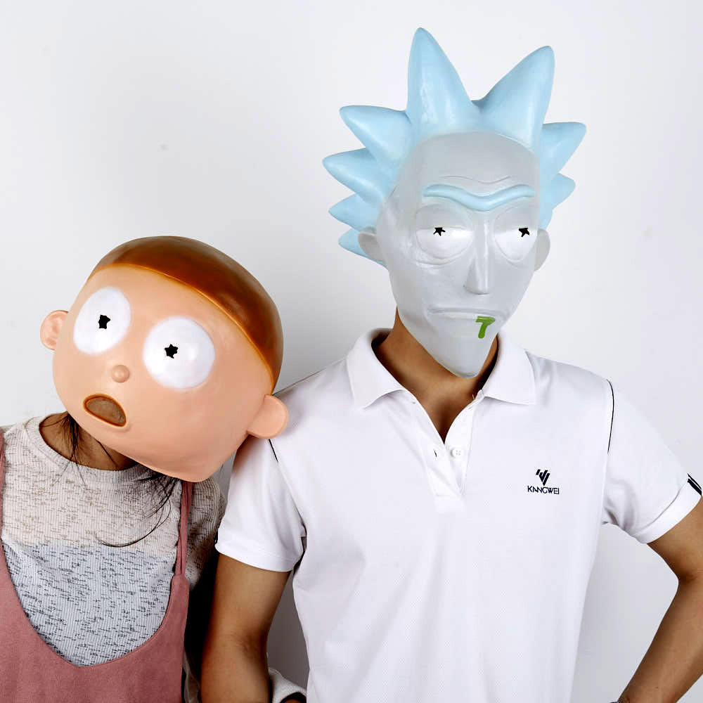 <span class=keywords><strong>Anime</strong></span> Rick En Morty Cosplay Masker Helm Leuke Full Face Head Latex Kap Maskers Maskerade Halloween Vrouwen/Mannen Party props