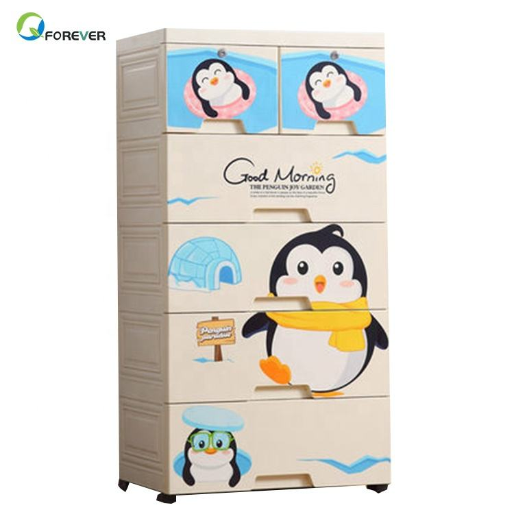 Simple Design Cartoon Wooden Baby Clothes Closet Wardrobe for Kids