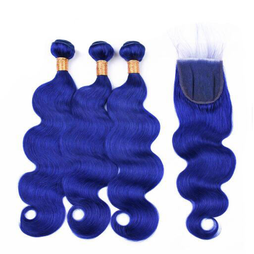 Body Wave Blue Hair Bundles Remy hair 3 Bundles Deals Blue Color Human Hair Weaving Bundles 3 Pieces One Pack