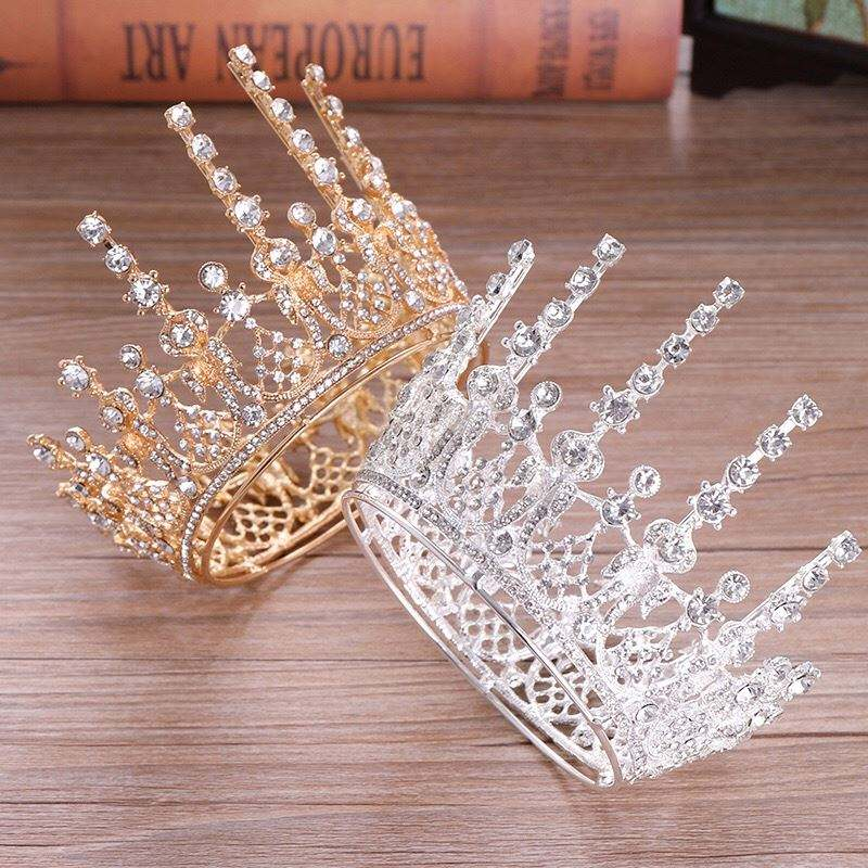 Luxury headband wedding hair accessories high quality gold color pageant crowns for girls