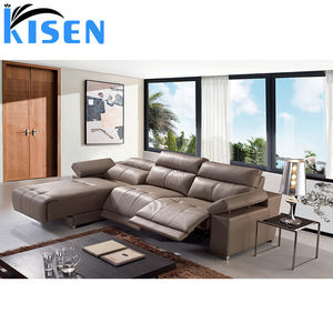 Home furniture living room grey leather recliner sofa