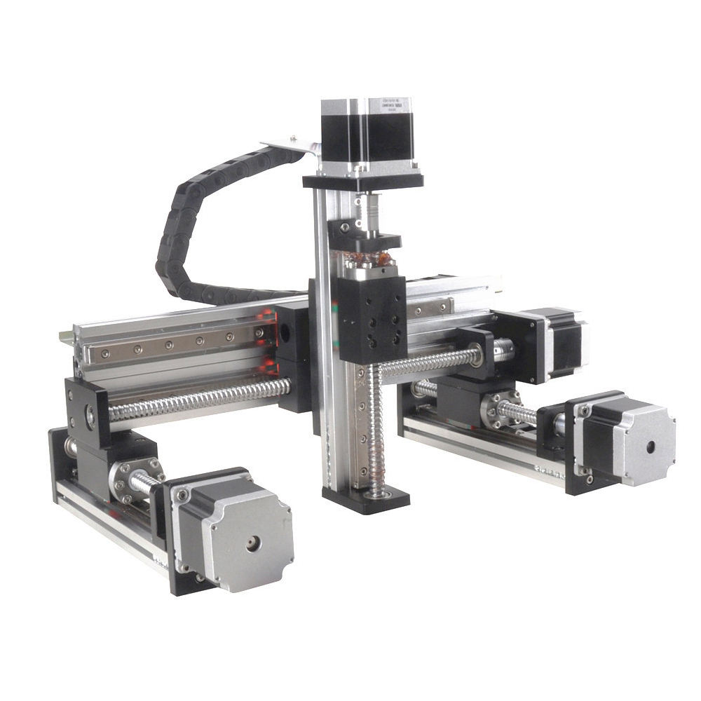 50-1000mm stroke nema23 stepper motorized drive gantry type xyz linear stage 3 axis table