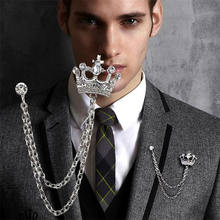 Fashion Personality retro crown chain pin badge suit brooch for men