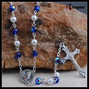 Our Lady of Lourdes Faux Pearl Glass Rosary, Mixed Blue Crystal Beads Necklace