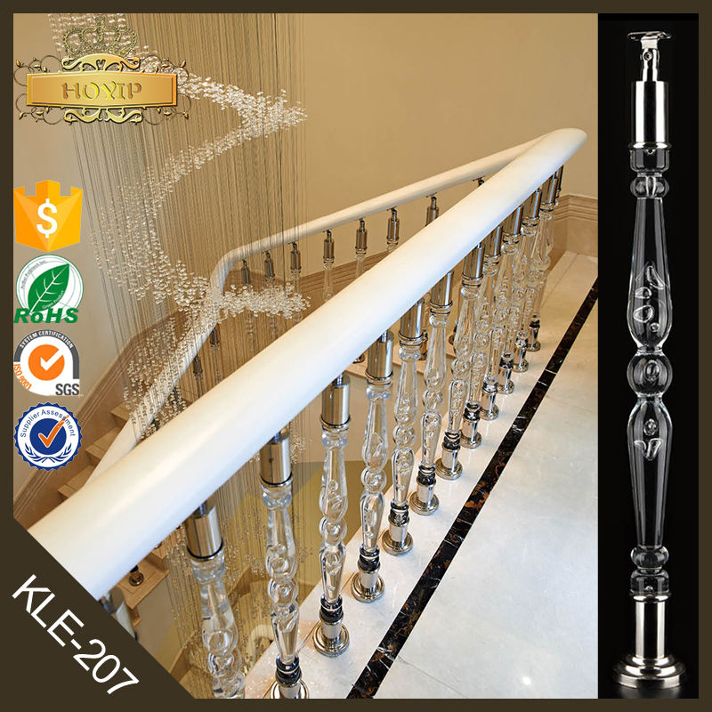 Home interior indoor crystal stair railings clear stair handrail