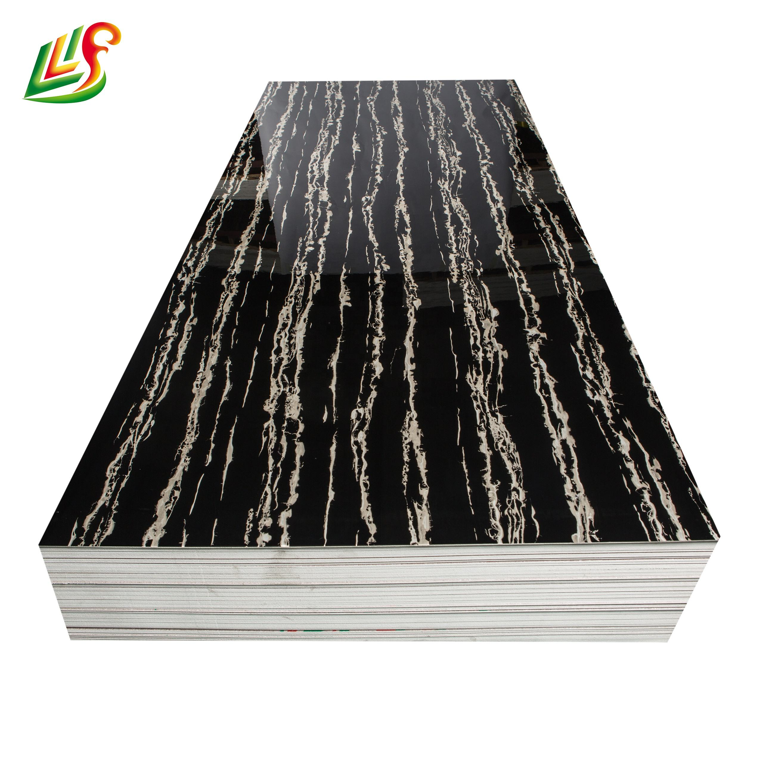 High gloss melamine PVC decorative wall covering faux stone wall panel