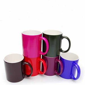 P178 Ceramic color change mug sublimation coffee heart handle couple mug