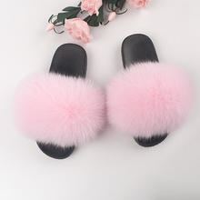 Indoor and Outdoor Anti-slip Fur Scandals Real Fox Fur Slipper Slides