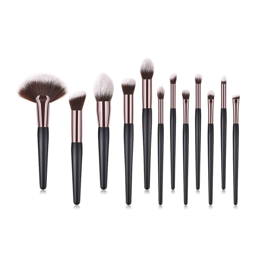 Online Einkaufen Schwarz Holzgriff Braun Weiß Haar Make Up Pinsel Make-Up 12 stück Make-Up-Tools in September