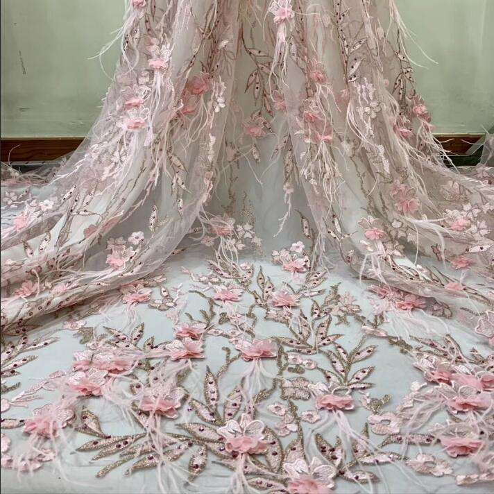 2019 new stock 3d flower embroidery blush pink lace fabric with rhinestone for haunt couture dress