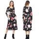 Women Black Round Collar Flared Long Sleeves Dress Floral Print Fashion Skater Dress