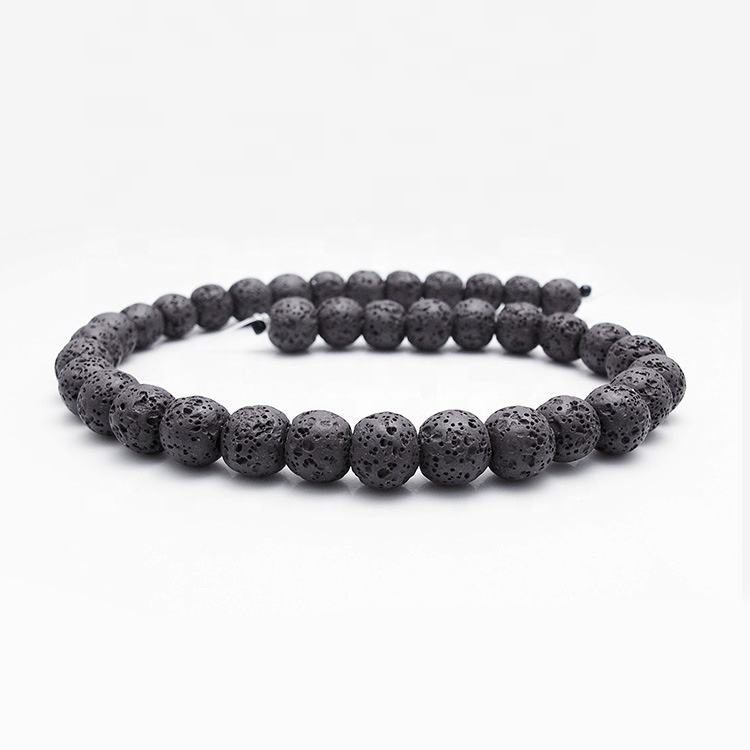 Wholesale 8mm Black Lava Stone Round Beads For DIY Jewelry Earring