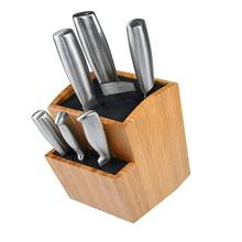 Bamboo Universal Knife Block - Extra Large Two-tiered Slotless Wooden Knife Stand, Organizer & Holder
