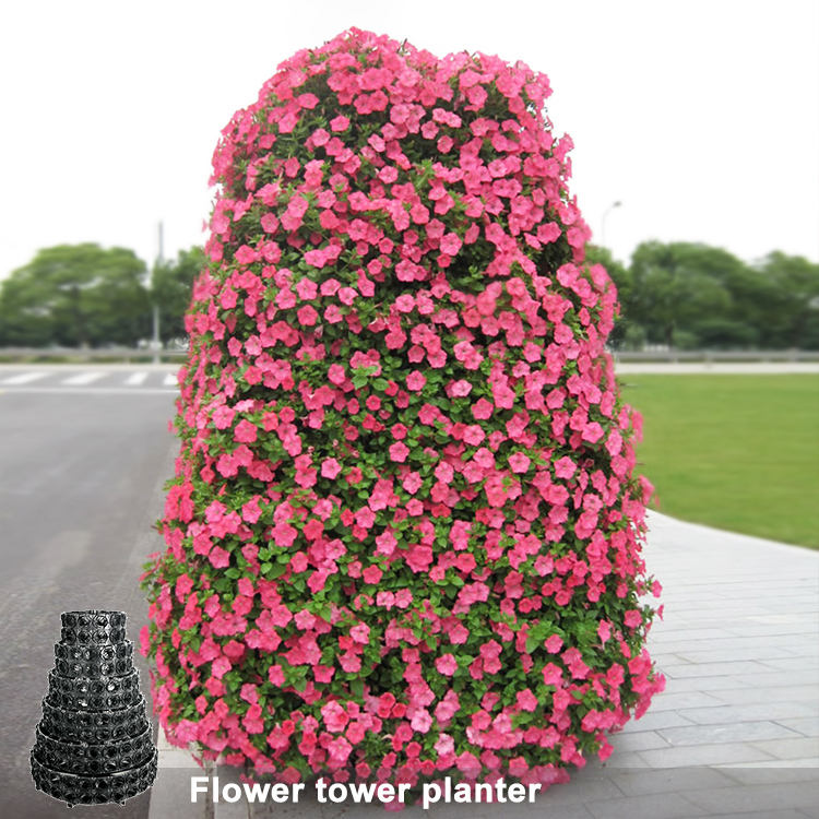 Garden Supplies Outdoor Decoration Plastic Tower Shaped Plant Pots Vertical Garden Tower