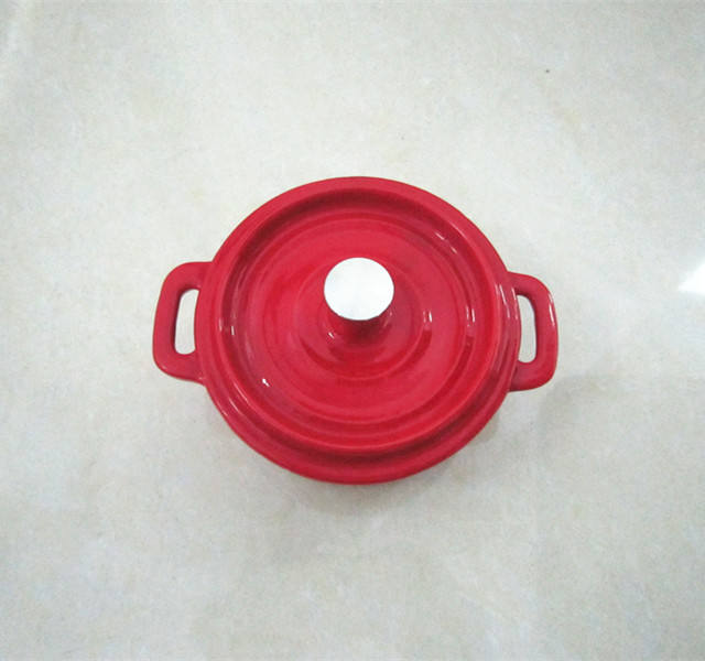 cast iron enamel red pot