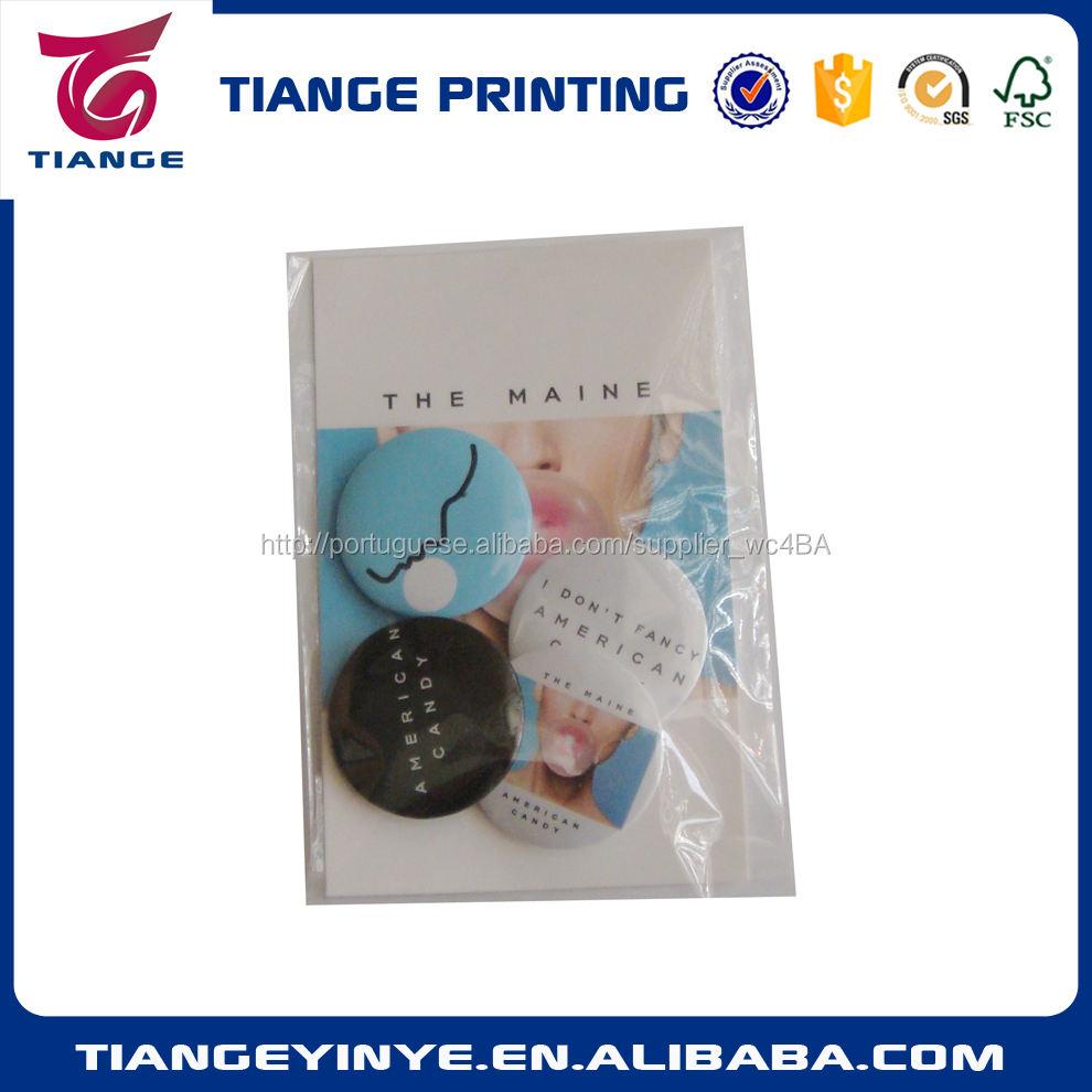 Personalizado cartão de papel e emblema do botão Pin pacote em saco de plástico