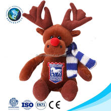Cheap custom LOGO stuffed animal soft plush deer toy with scarf NEW christmas moose stuffed and plush toys