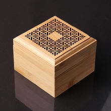 Square Bamboo Incense Burner with Coil Incense Storage Drawer Plate Furnace Aroma Coil Incense Burner Air Fresh Home Decoration