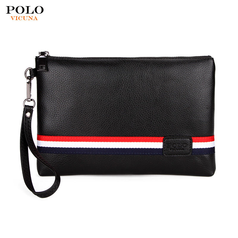 VICUNA POLO Custom Logo Large Capacity Bag Clutch Purse PU Leather Wallet for Men