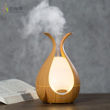 Home mini electric wood grain fragrance ultrasonic aromatherapy led color changing air humidifier aroma essential oil diffuser